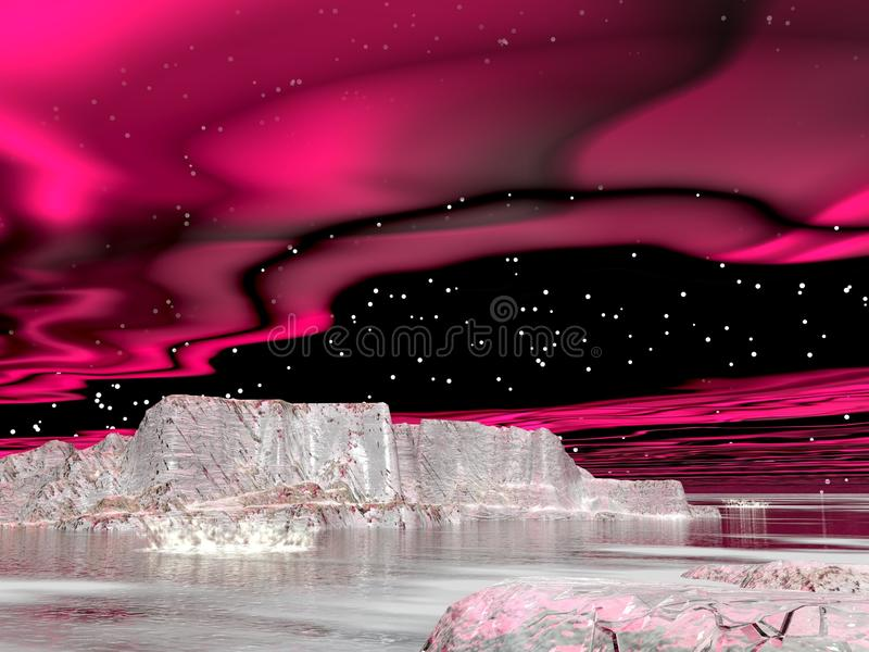 Northern Lights (aurora Borealis)  - 3D Render Stock Image
