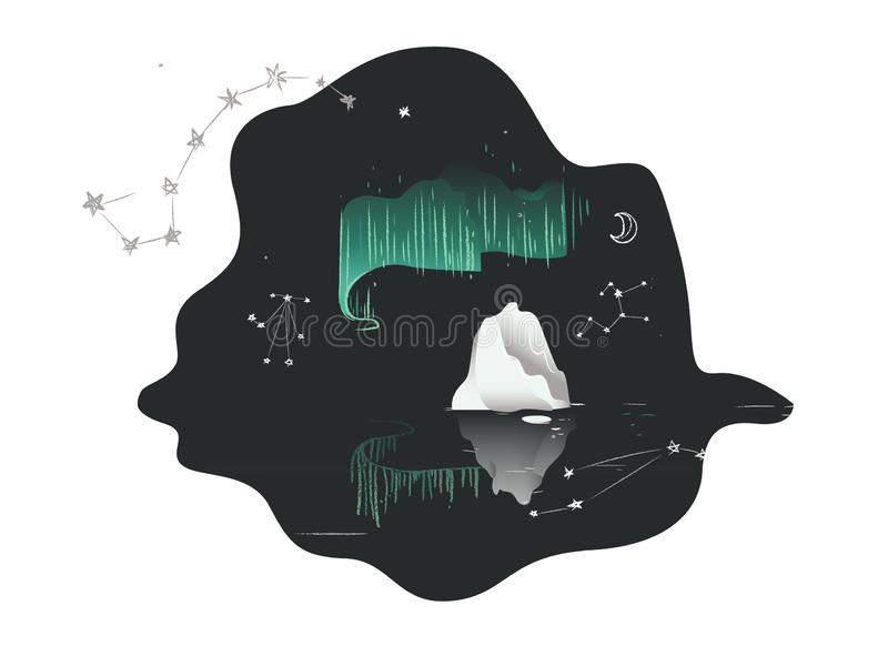 Northern lights - Aurora borealis on night sky above water and ice. stock illustration