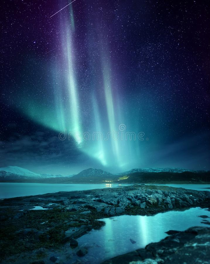 Northern Lights Aurora Over Northern Norway stock photography