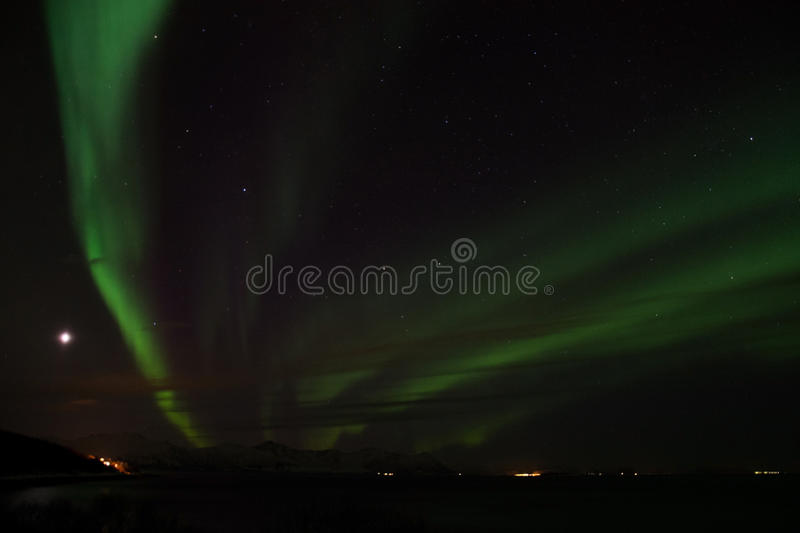 Northern Lights at Bremnes near Harstad, Norway. Aurora Borealis, photo taken at Bremnes near Harstad, Norway, in February royalty free stock photography