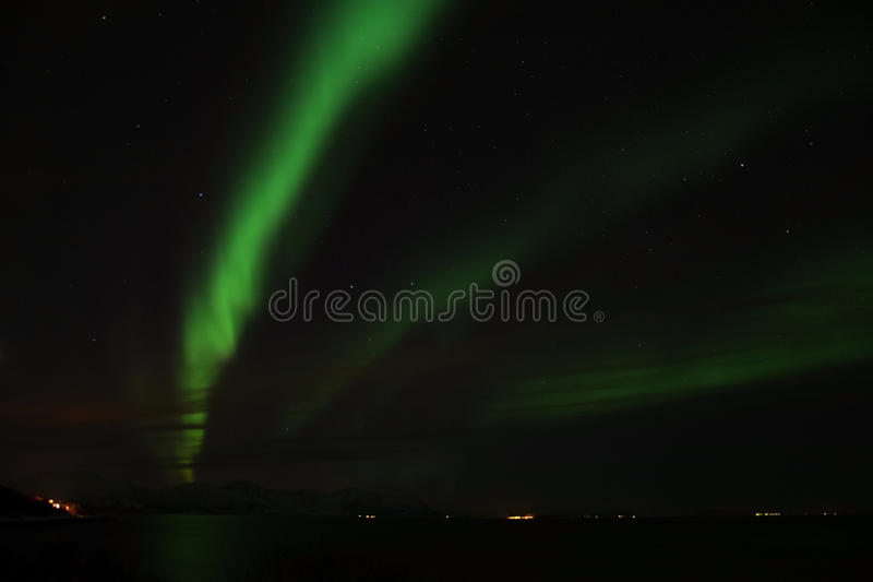 Northern Lights at Bremnes near Harstad, Norway. Aurora Borealis, photo taken at Bremnes near Harstad, Norway, in February stock images