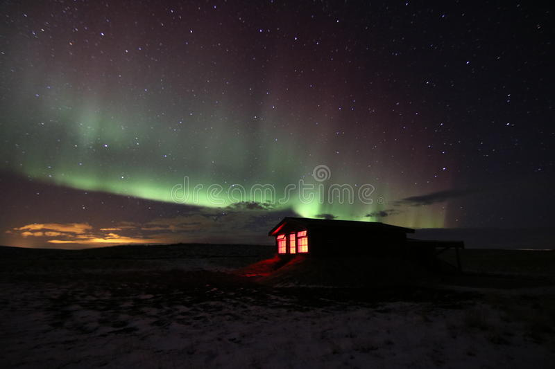 Northern Lights, Iceland. Hotel Ranga. royalty free stock photo