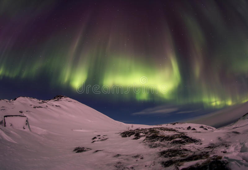Northern Lights on the Kola Peninsula. Teriberka, Murmansk region, Russia.  royalty free stock photos