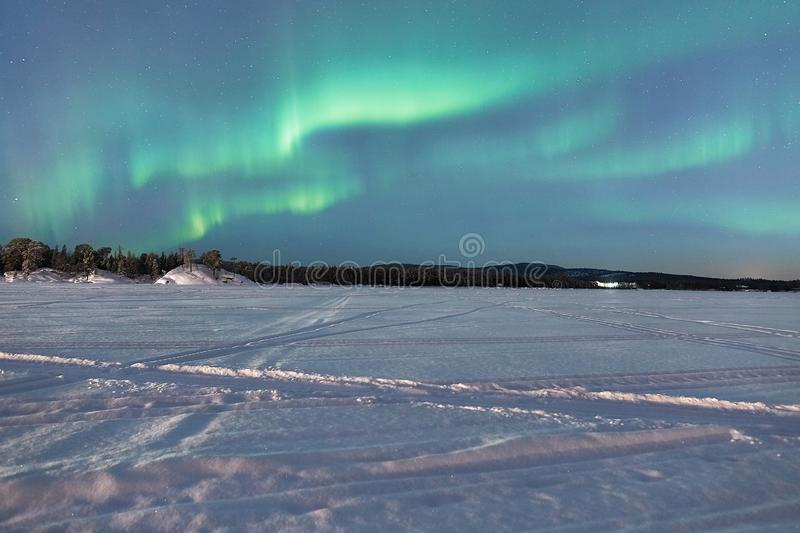 Northern Lights in Lapland royalty free stock photo