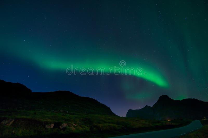 Northern Lights in Lofoten, Norway royalty free stock photo
