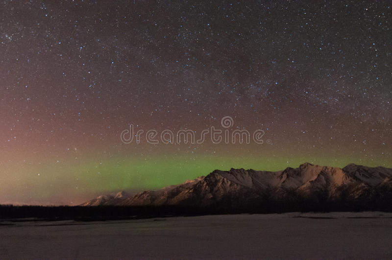 Northern Lights And the Milky Way stock photos