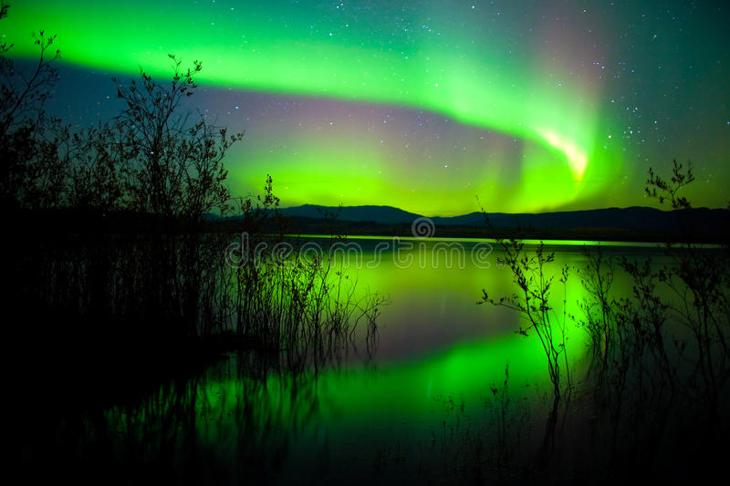 Northern lights mirrored on lake royalty free stock photography