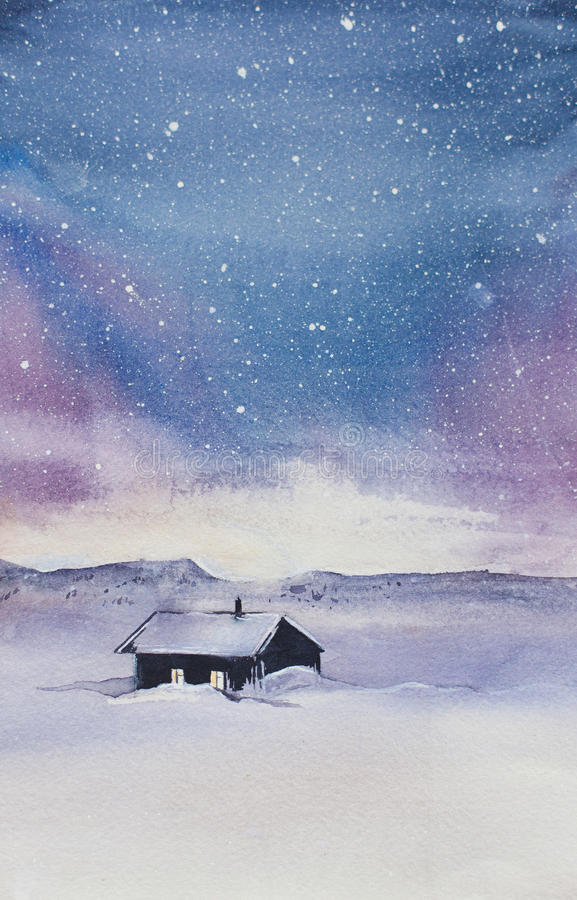 Northern Lights in the mountains. Watercolor Northern Lights in the mountains royalty free illustration