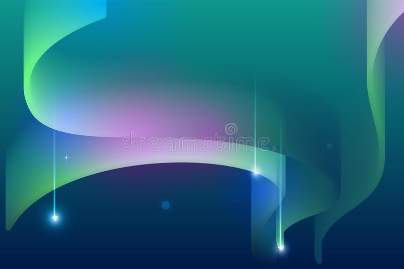 Northern lights night sky falling star abstract background stock illustration