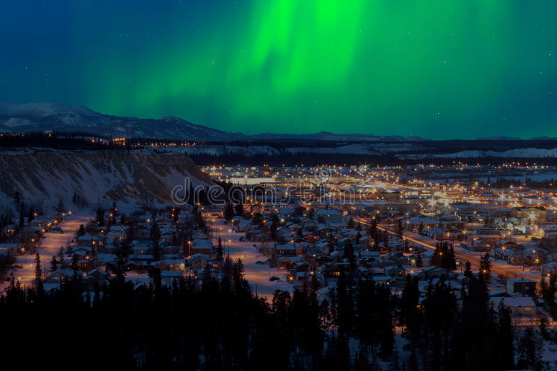 Northern Lights over Downtown Whitehorse royalty free stock photo