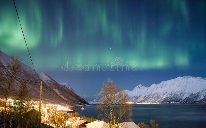 Northern Lights over Fjord and Norwegian Village stock images