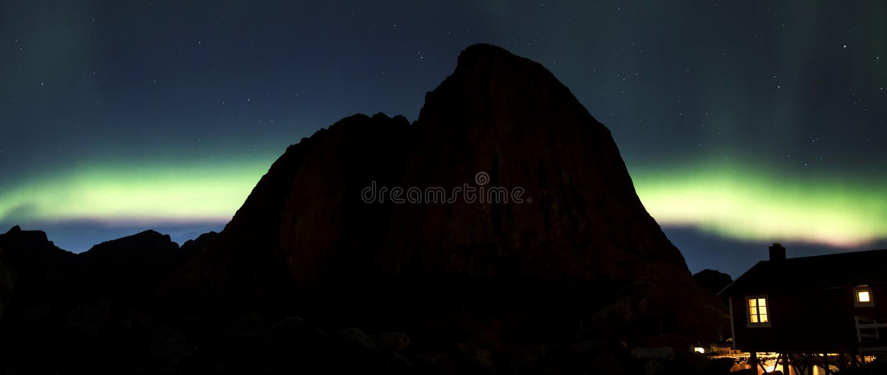 Northern lights over Hamnoy II royalty free stock photo