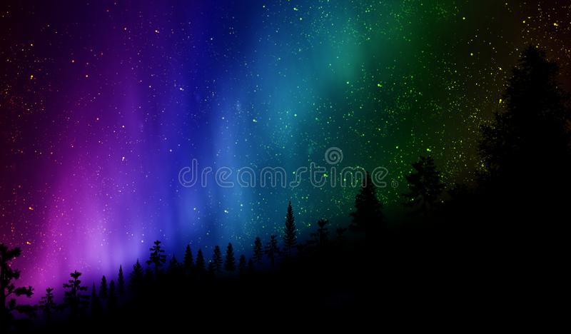 Northern Lights over the hill. Silhouette of hill and trees with wonderful Northern Lights Aurora and stars in background royalty free stock image