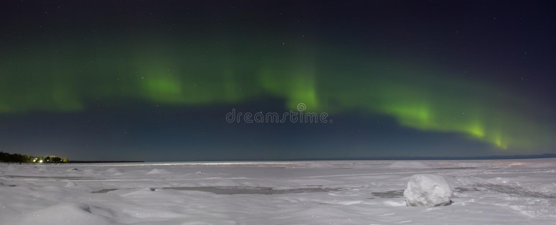 Northern lights over lake Ladoga Russia stock image