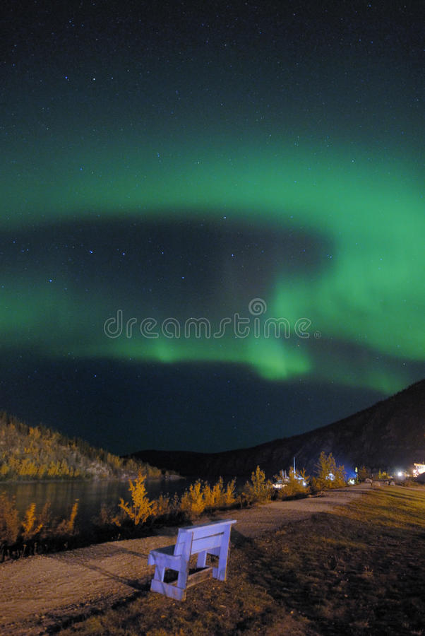 Northern lights over Love chair stock images