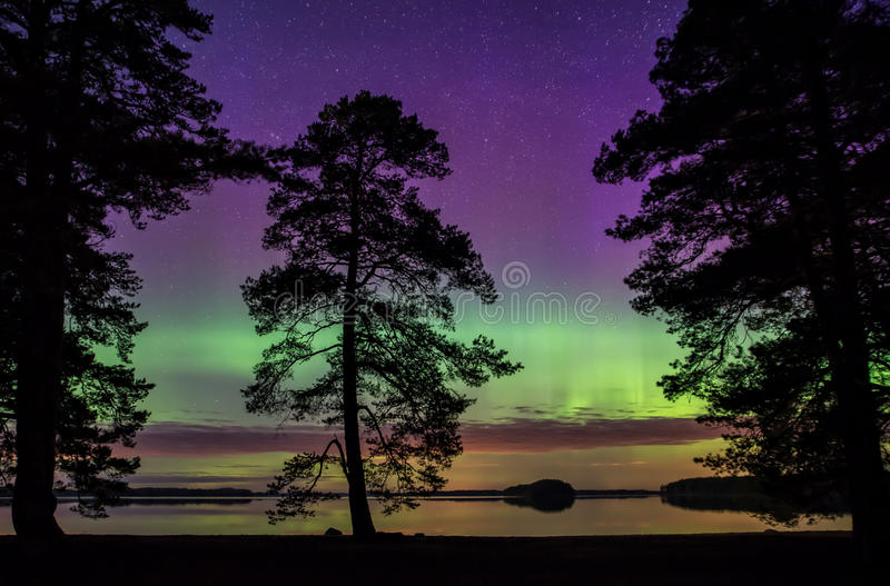 Northern lights. Scenic view of a lake landscape with northern lights and moonlight Aurora borealis royalty free stock images