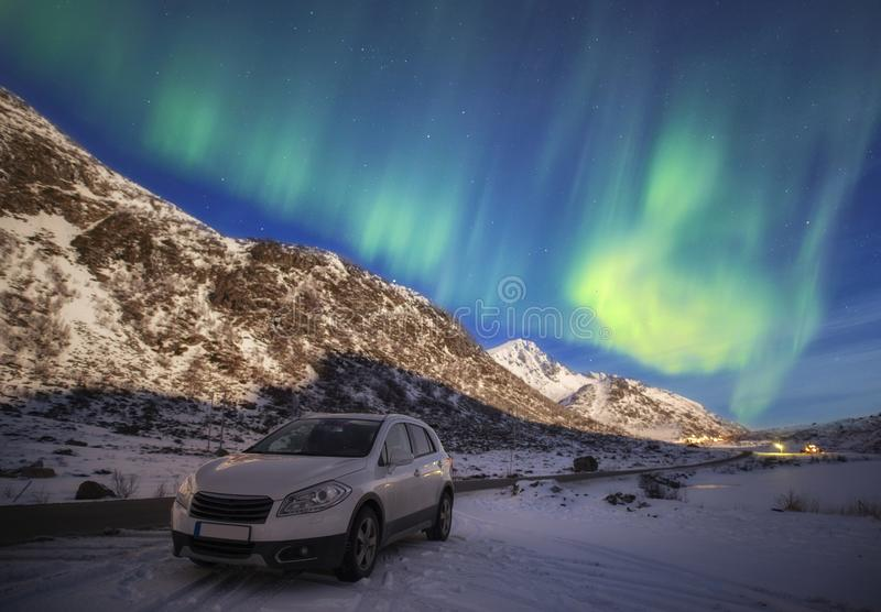 Northern lights in the sky of the Lofoten Islands in Norway stock images