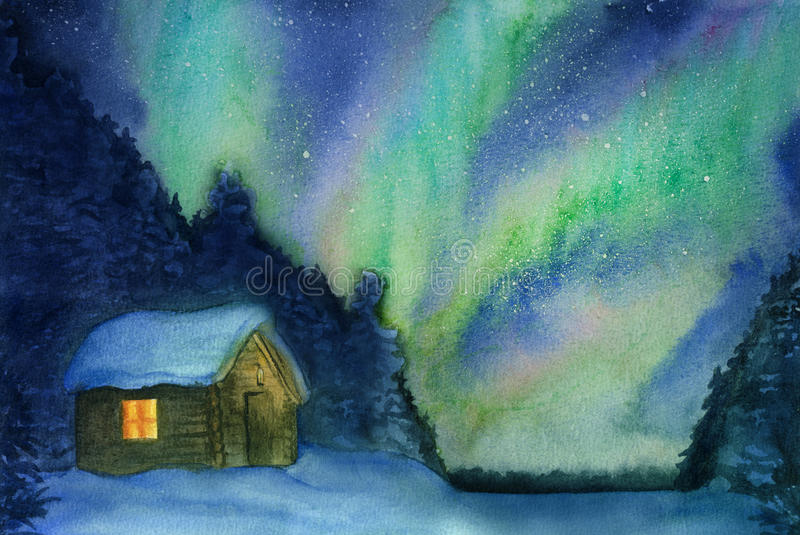 Northern lights, snow and cottage. Hand-drawn with watercolor vector illustration