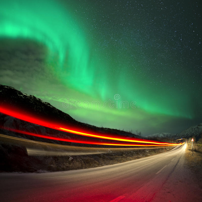 Northern Lights and trails. Northern Norway stock image