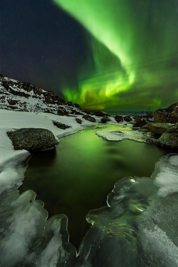 Free Northern Lights Under The Barents Sea. Polar Landscape At The Winter Night. Royalty Free Stock Images - 167187319