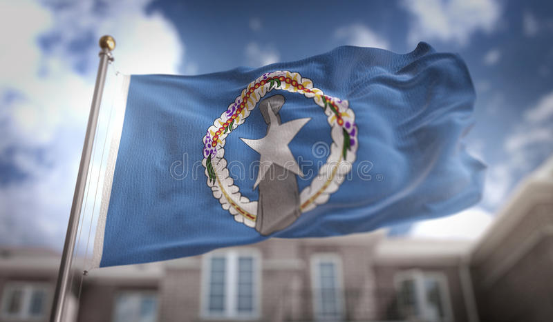 Northern Mariana Islands Flag 3D Rendering on Blue Sky Building. Background Digital Art stock photos
