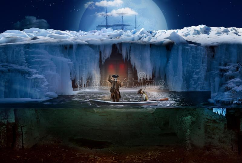 Northern moonlit night. Two sailors in the boat in front of the mysterious door stock photo