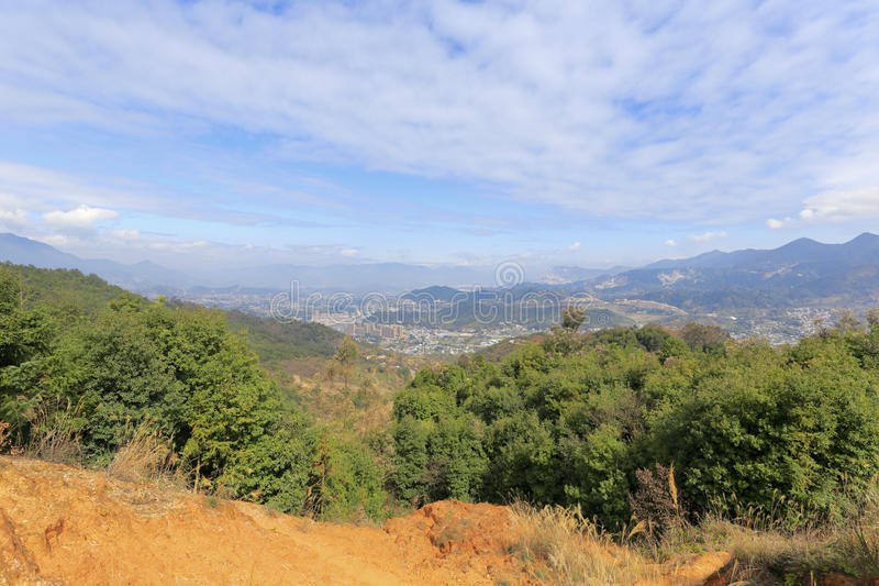 Northern mountainous of xiamen. Overlooking the valley town from the dingcuncun village on the mountain of northern xiamen, china royalty free stock images
