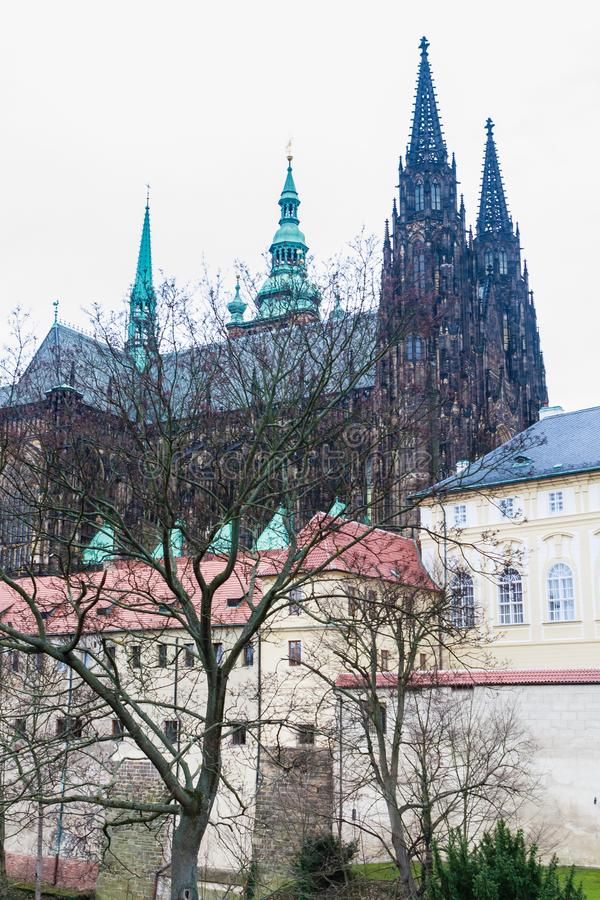 Northern part of Prague Castle. Deer gully. Wall of fortress royalty free stock photos