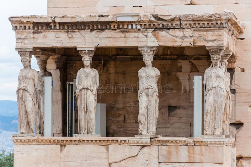 The Northern porch, Erechtheion or Erechtheum temple on Acropolis hill. Honoring Athena & Poseidon, this famous, ancient Greek stock image