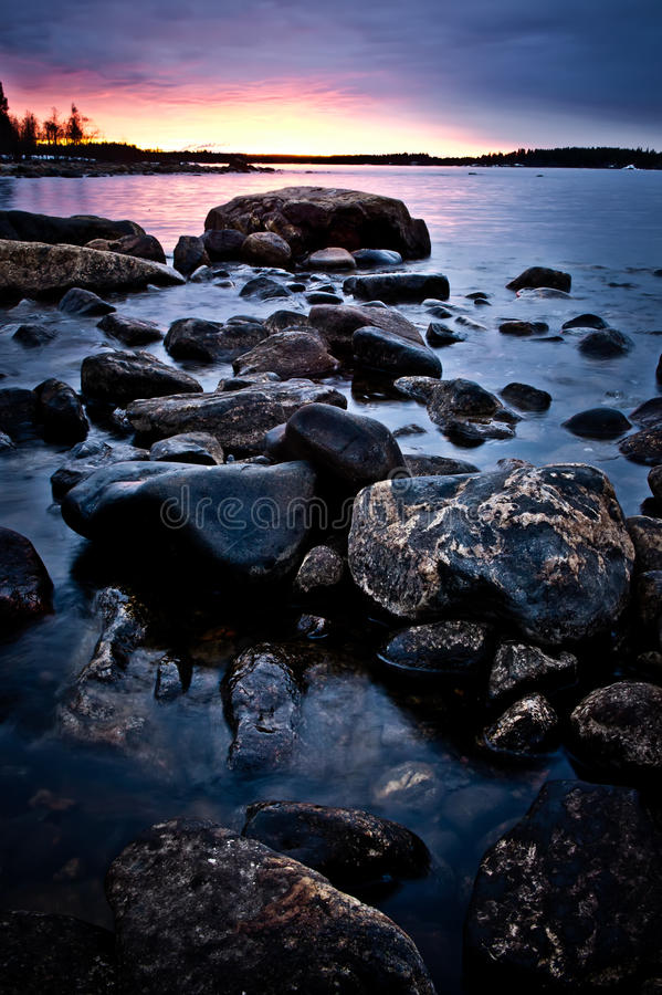 Download Northern shoreline stock image. Image of pebbles, evening - 14140491