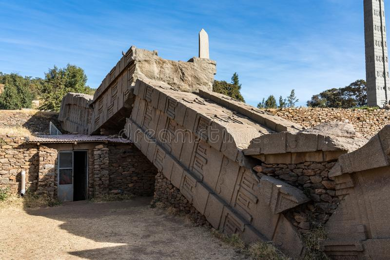 The Northern Stelae Park of Aksum, famous obelisks in Axum, Ethiopia. UNESCO World Heritage site royalty free stock photo