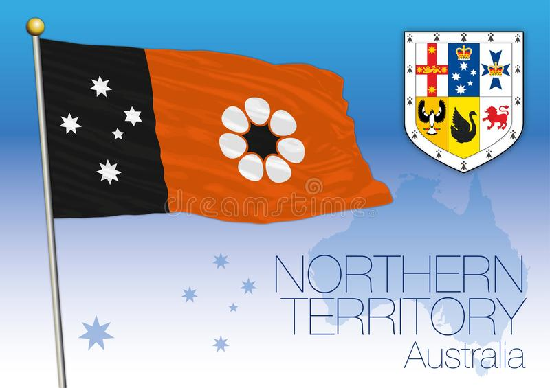 Northern Territory, flag of the state and territory, Australia vector illustration