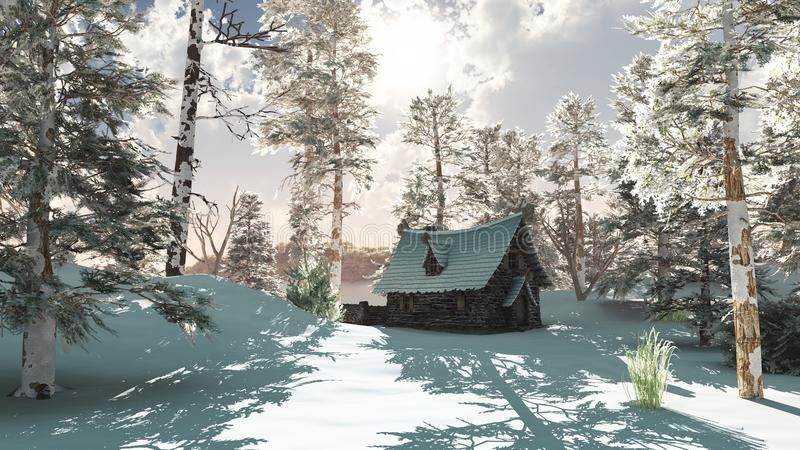 Northern Winter Cottage in Snow. 3d Digitally rendered illustration of a Northern winter cottage in a snowy forest clearing royalty free illustration