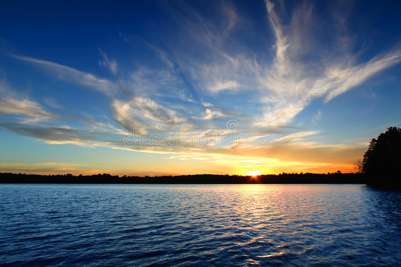Northern Wisconsin Lake Sunset stock image