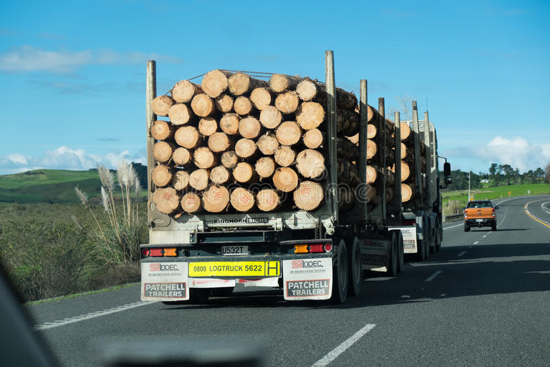 Northland, New Zealand, NZ - June 30, 2017: Overtaking a logging. Truck on State Highway 1 royalty free stock photo