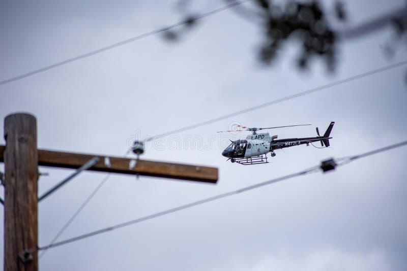 Northridge, ασβέστιο/Ηνωμένες Πολιτείες - 27 Μαΐου 2019: Οι μονάδες μονάδων και περιπόλου αέρα LAPD αποκρίνονται στην κλήση brand στοκ εικόνα με δικαίωμα ελεύθερης χρήσης
