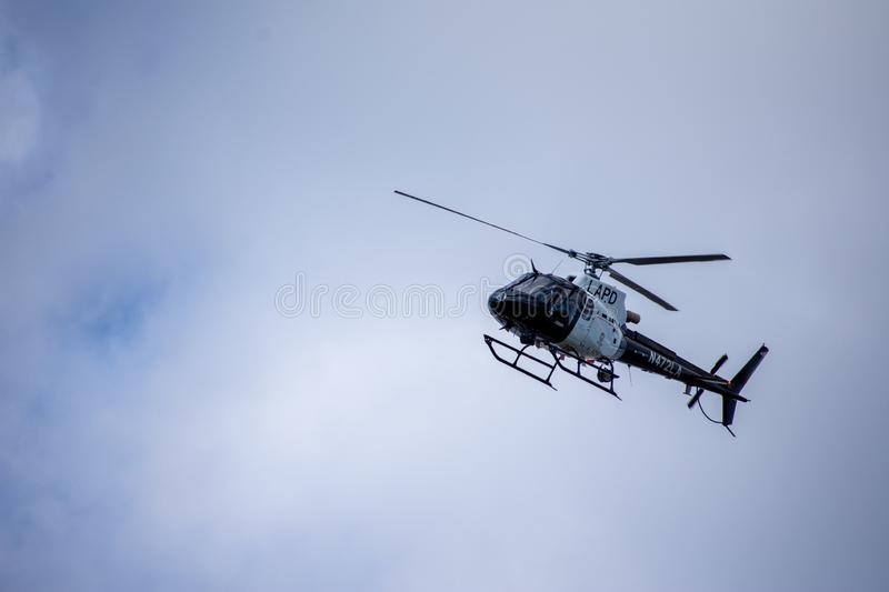 Northridge, CA / United States -  May 27, 2019: LAPD Air Unit and Patrol Units respond to brandishing/ADW call in suburban. Neighborhood stock image