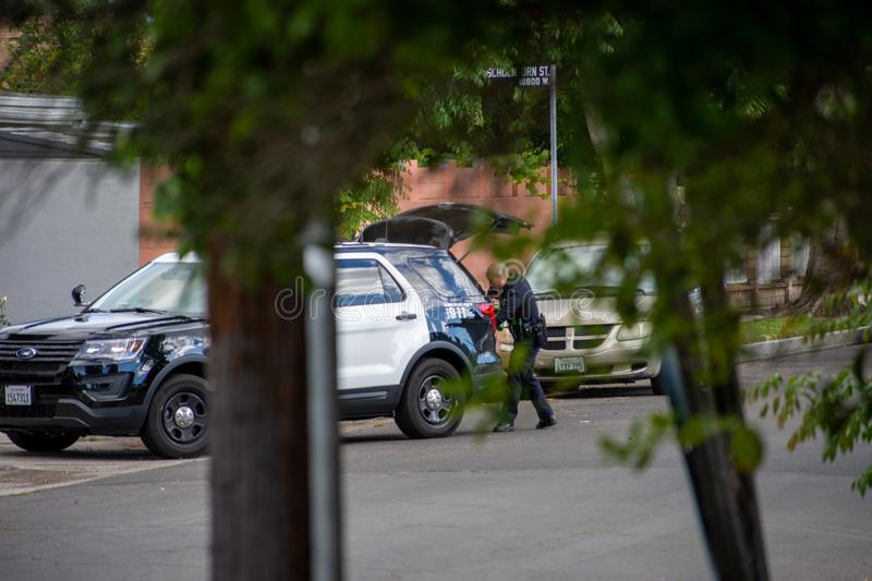 Northridge, CA / United States -  May 27, 2019: LAPD Patrol Units respond to brandishing/ADW call in suburban neighborhood with. Less lethal device.  A LAPD royalty free stock images