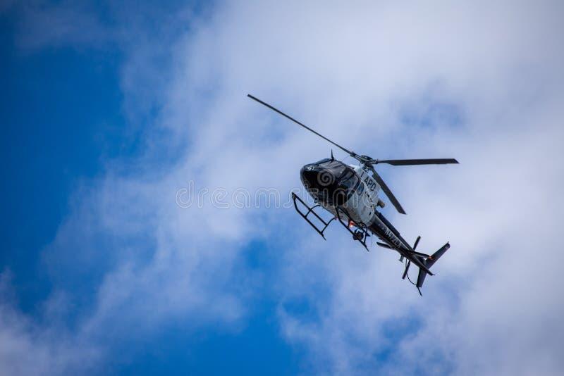 Northridge, CA/Vereinigte Staaten - 27. Mai 2019: LAPD-Luft-Einheits-und Patrouillen-Einheiten reagieren auf brandishing-/ADWanru lizenzfreies stockbild