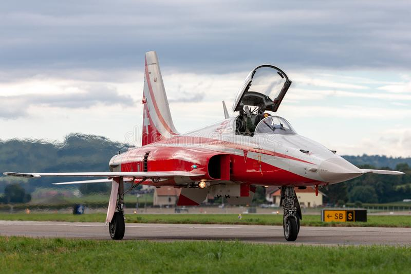 Northrop F-5E fighter aircraft from the Swiss Air Force formation display team Patrouille Suisse stock photography