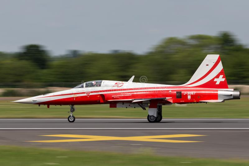 Northrop F-5E fighter aircraft from the Swiss Air Force formation display team Patrouille Suisse. royalty free stock image