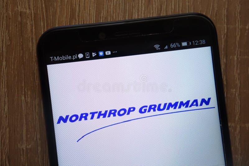 Northrop Grumman-Bedrijfsembleem op een moderne smartphone wordt getoond die stock fotografie