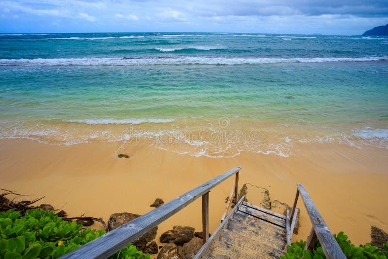 Northshore奥阿胡岛夏威夷海滩台阶 库存照片