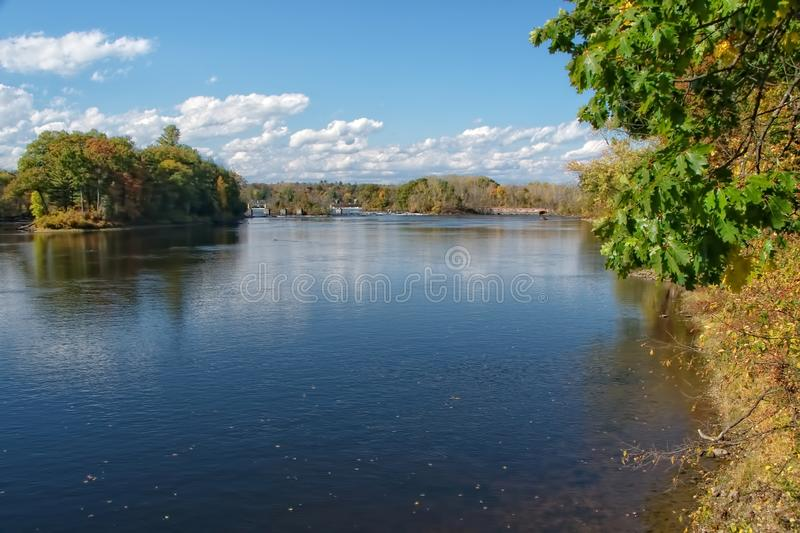 Northumberland Dam and Saratoga Falls of the Hudson River in Early Autumn royalty free stock photo