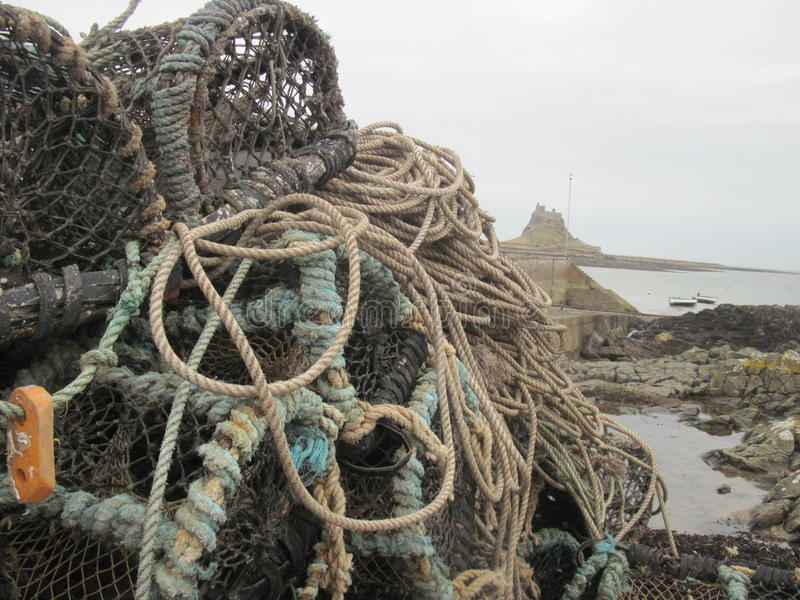 Northumberland fishing. Fishing nets/rope/cages on the coast of Northumberland royalty free stock photo