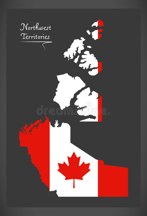 Northwest Territories Canada map with Canadian national flag vector illustration