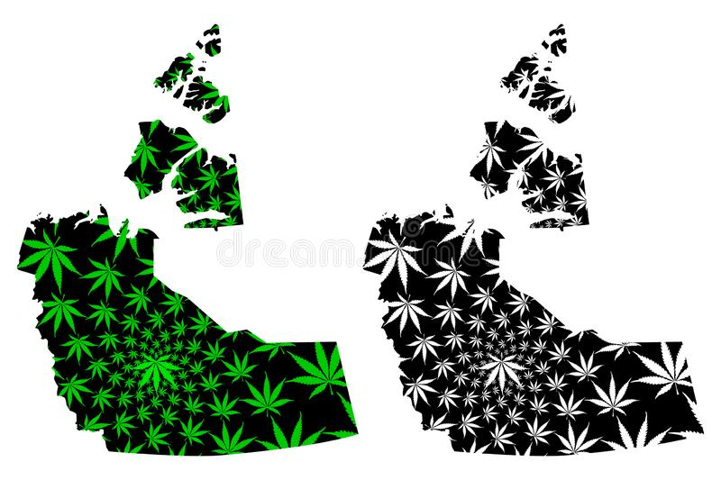 Northwest Territories provinces and territories of Canada map is designed cannabis leaf green and black, Northwest Territories stock illustration