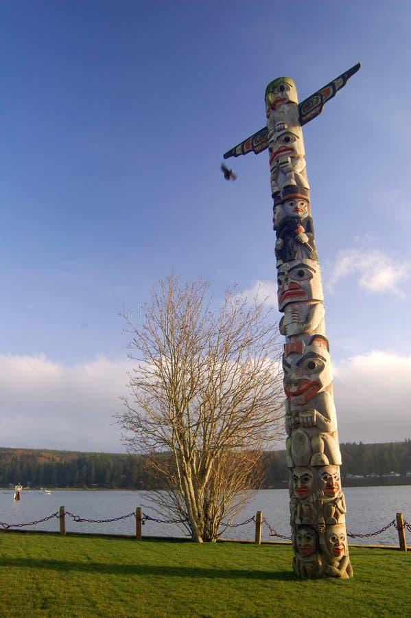 Northwest totem pole stock image