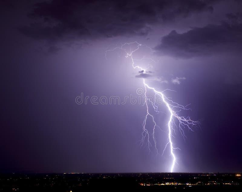 Northwest Tucson Lightning. Cloud-to-ground lightning strike over northwest Tucson stock photos