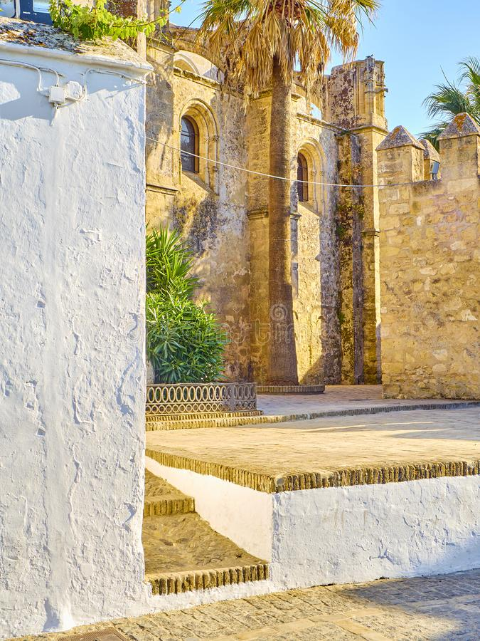Vejer de la Frontera downtown. Cadiz province, Andalusia, Spain. Northwestern facade of Divino Salvador church. Vejer de la Frontera downtown. Cadiz province royalty free stock photo